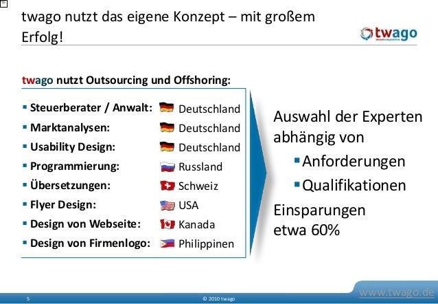 © 2010 twago5 www.twago.de twago nutzt das eigene Konzept – mit großem Erfolg!  Steuerberater / Anwalt:  Marktanalysen: ...