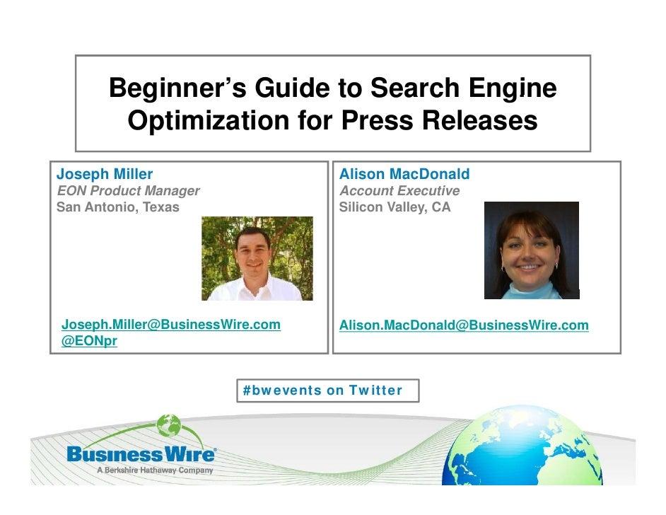 Beginner s      Beginner's Guide to Search Engine       Optimization for Press ReleasesJoseph Miller                      ...