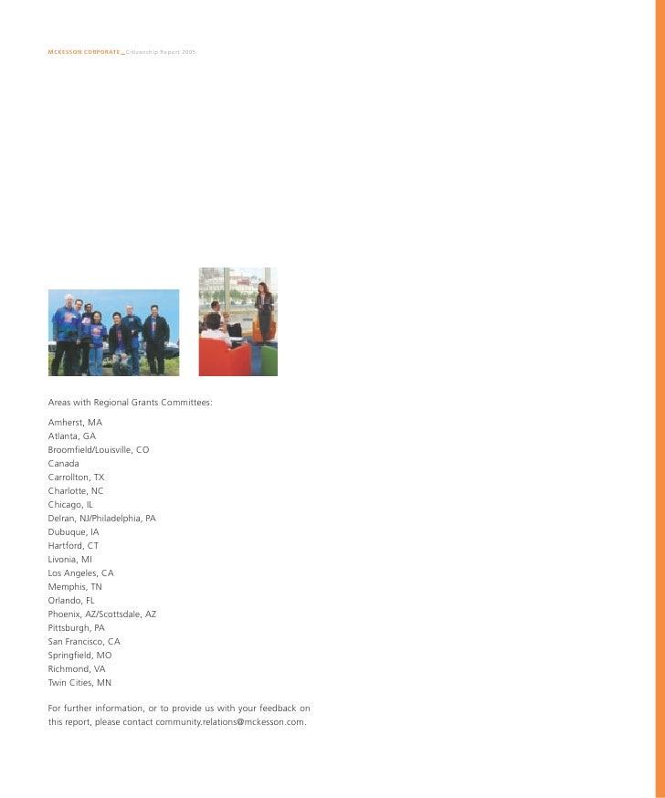 Mckesson Corporate Citizenship Report 7 4m 2005