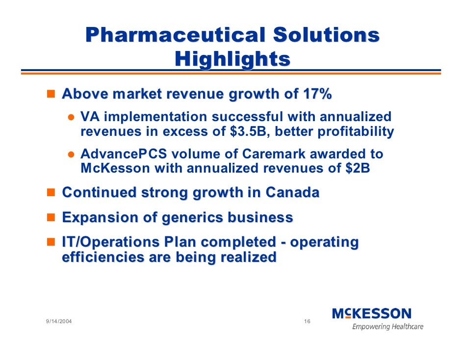 Pharmaceutical Solutions                   Highlights      Above market revenue growth of 17%             VA implementatio...