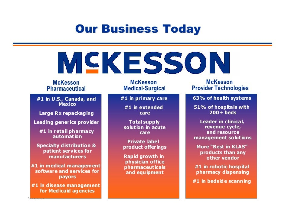 Our Business Today                                                                 McKesson                               ...