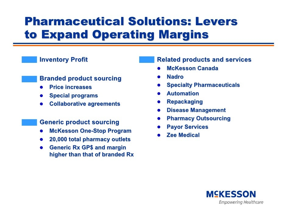 Pharmaceutical Solutions: Levers to Expand Operating Margins    Inventory Profit                    Related products and s...