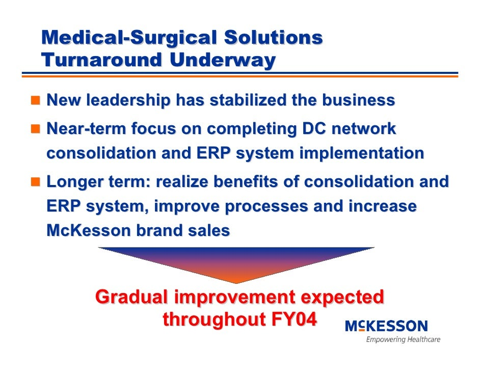 Medical-Surgical Solutions Turnaround Underway  New leadership has stabilized the business Near-term focus on completing D...