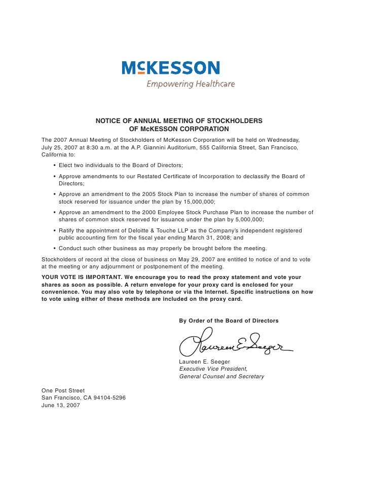 NOTICE OF ANNUAL MEETING OF STOCKHOLDERS                             OF McKESSON CORPORATION The 2007 Annual Meeting of St...
