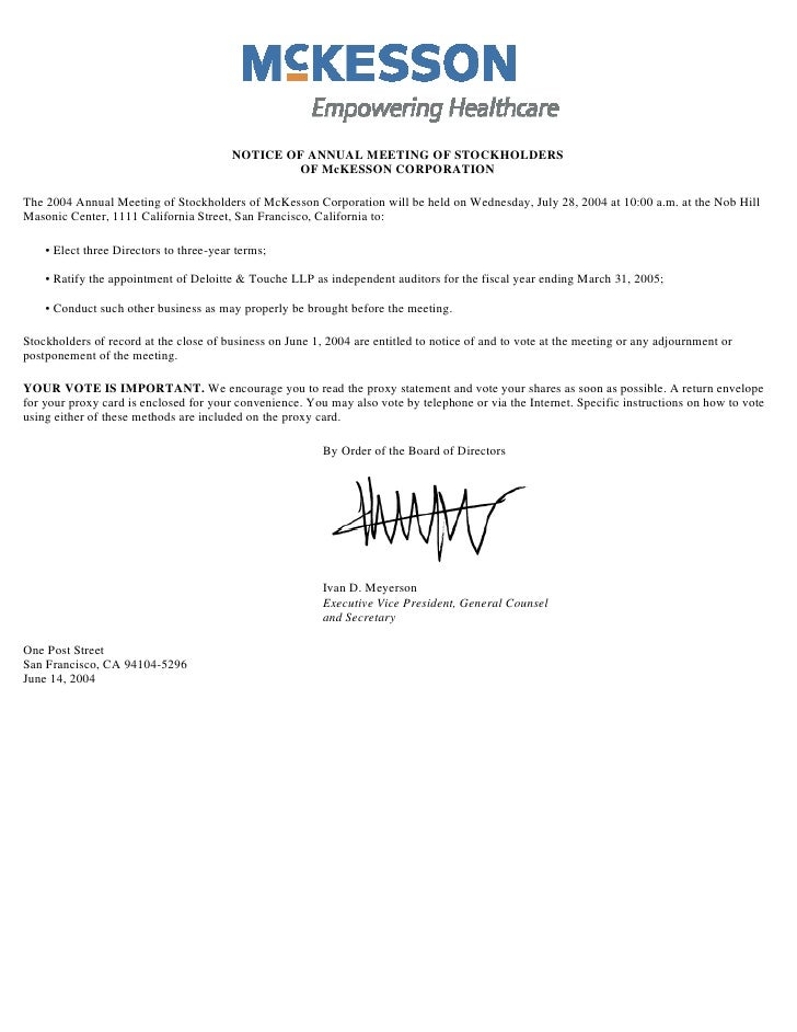 NOTICE OF ANNUAL MEETING OF STOCKHOLDERS                                                  OF McKESSON CORPORATION  The 200...