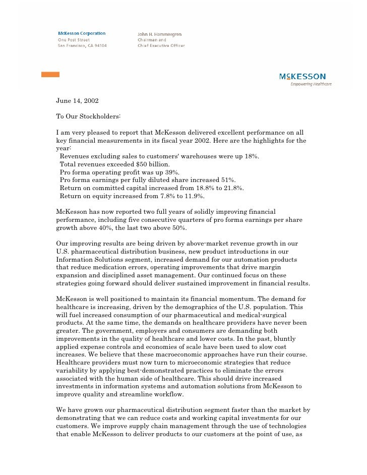 June 14, 2002  To Our Stockholders:  I am very pleased to report that McKesson delivered excellent performance on all key ...