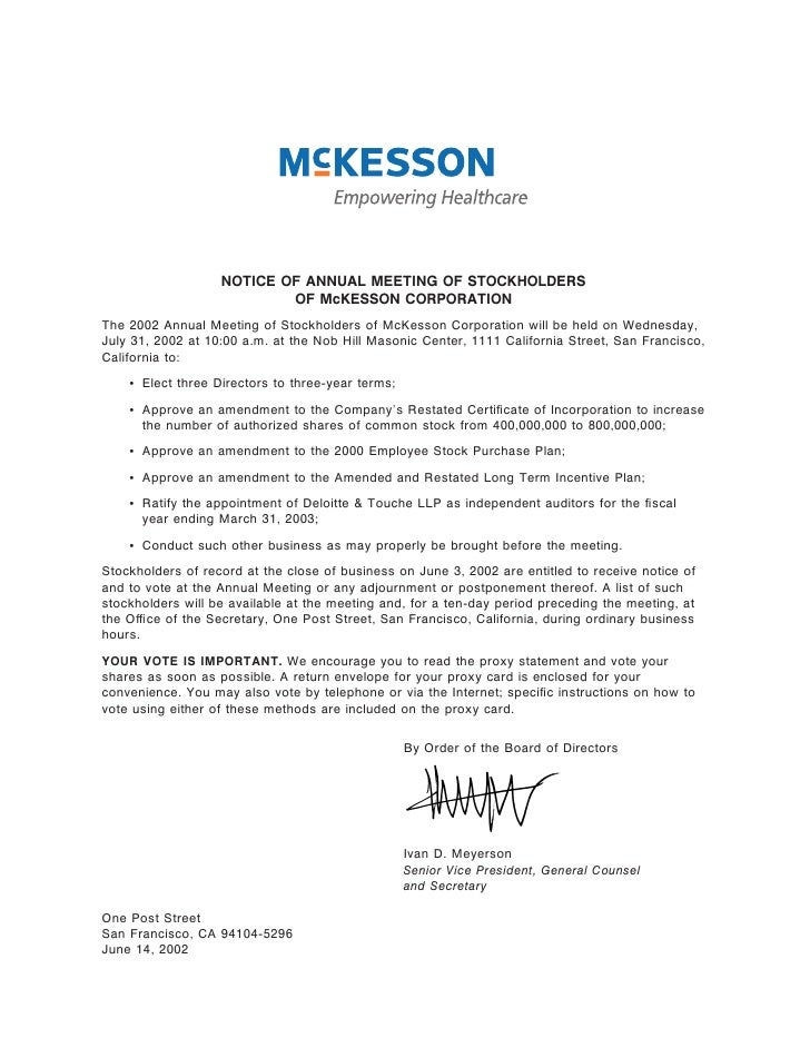 NOTICE OF ANNUAL MEETING OF STOCKHOLDERS                            OF McKESSON CORPORATION The 2002 Annual Meeting of Sto...