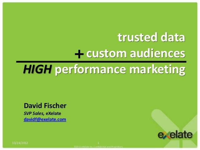 trusted data                custom audiences      HIGH performance marketing       David Fischer       SVP Sales, eXelate ...