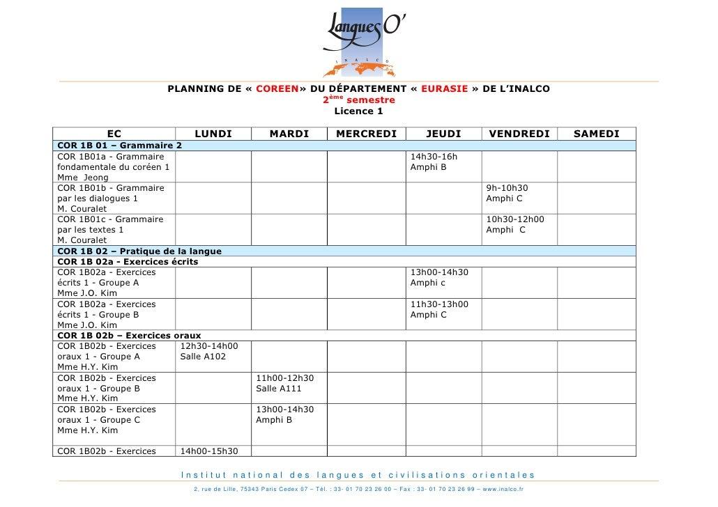 PLANNING DE « COREEN» DU DÉPARTEMENT « EURASIE » DE L'INALCO                                                2ème semestre ...