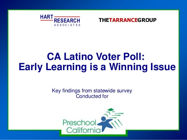 CA Latino Voter Poll: Early Learning is a Winning Issue HART RESEARCH A S S O T E SC I A THETARRANCEGROUP Key findings fro...