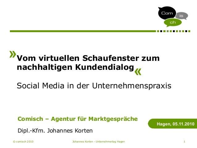 © comisch 2010 Johannes Korten - Unternehmertag Hagen 1 Vom virtuellen Schaufenster zum nachhaltigen Kundendialog Social M...