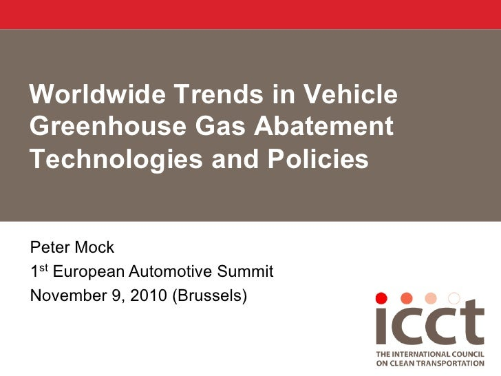Worldwide Trends in Vehicle GHG Abatement Technologies and Policies