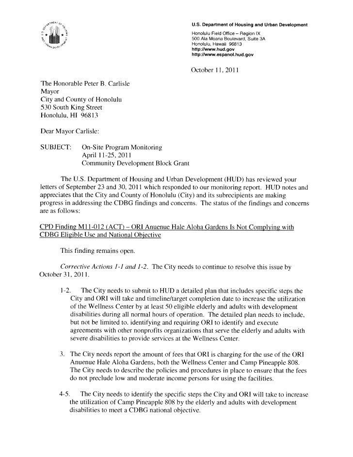 U.S. Department of Housing and Urban Development          *                                                  Honolulu Fiel...