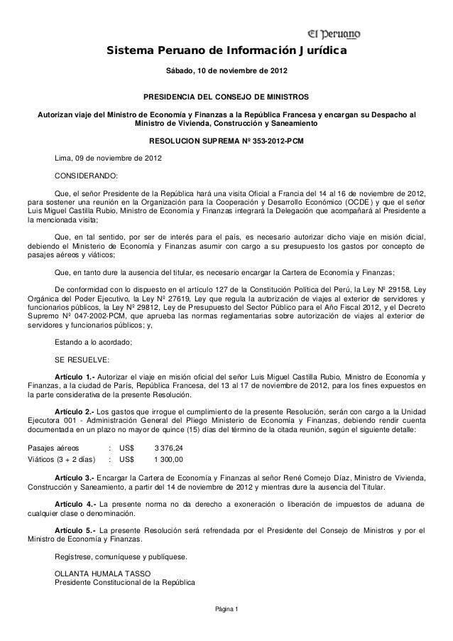 Sistema Peruano de Información Jurídica                                        Sábado, 10 de noviembre de 2012            ...