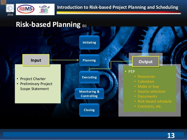 Introduction to Risk-based Project Planning and Scheduling 2016 Risk-based Planning (1) Monitoring & Controlling Planning ...