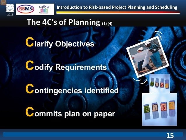 Introduction to Risk-based Project Planning and Scheduling 2016 The 4C's of Planning (1) (4) Clarify Objectives Codify Req...