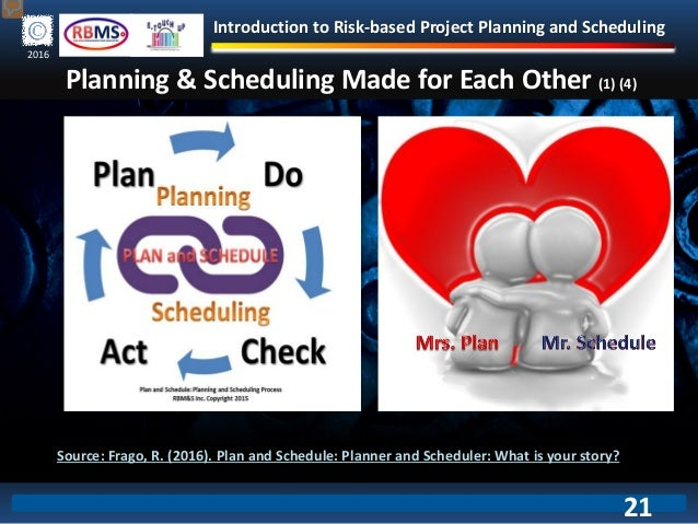 Introduction to Risk-based Project Planning and Scheduling 2016 Planning & Scheduling Made for Each Other (1) (4) Source: ...