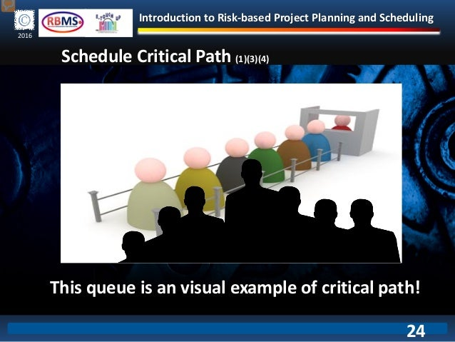 Introduction to Risk-based Project Planning and Scheduling 2016 Schedule Critical Path (1)(3)(4) This queue is an visual e...