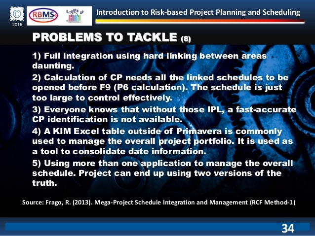 Introduction to Risk-based Project Planning and Scheduling 2016 1) Full integration using hard linking between areas daunt...
