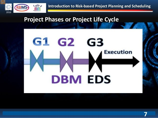 Introduction to Risk-based Project Planning and Scheduling 2016 Project Phases or Project Life Cycle 7