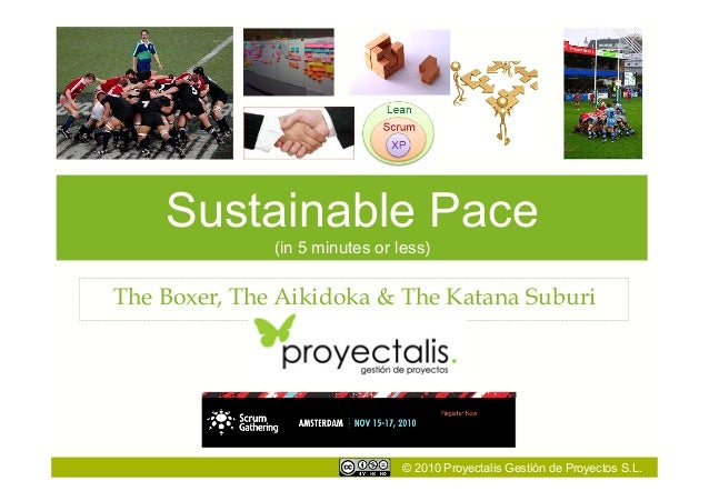 © 2010 Proyectalis Gestión de Proyectos S.L. Sustainable Pace (in 5 minutes or less) The Boxer, The Aikidoka & The Katana ...