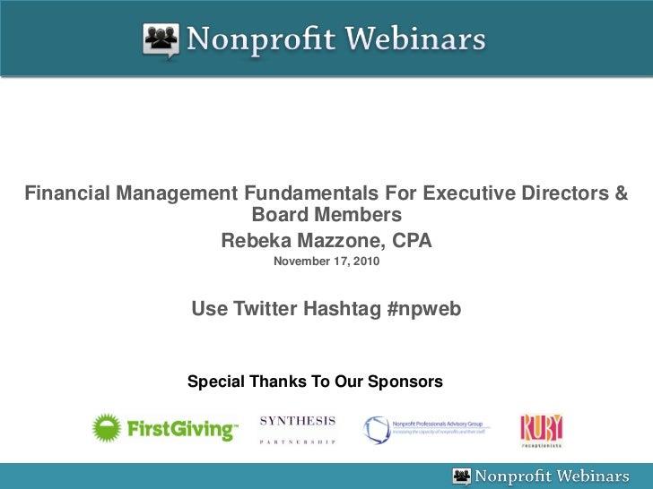 Financial Management Fundamentals For Executive Directors & Board Members