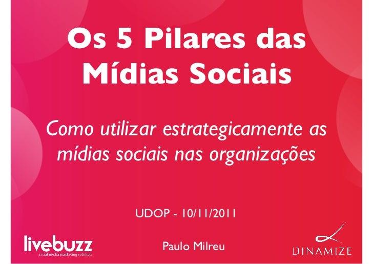 Os 5 Pilares das   Mídias SociaisComo utilizar estrategicamente as mídias sociais nas organizações          UDOP - 10/11/2...