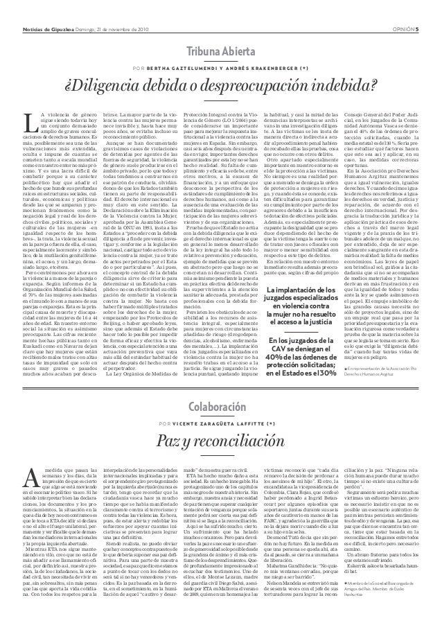 Noticias de Gipuzkoa Domingo, 21 de noviembre de 2010 OPINIÓN 5 Colaboración P O R V I C E N T E Z A R A G Ü E TA L A F F ...