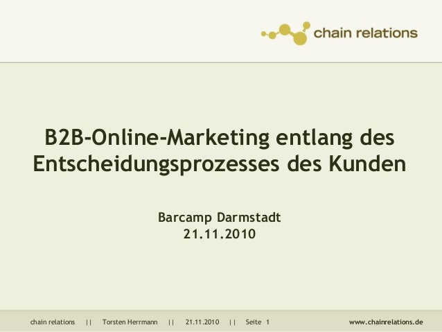 chain relations || Torsten Herrmann || 21.11.2010 || Seite 1 www.chainrelations.de B2B-Online-Marketing entlang des Entsch...