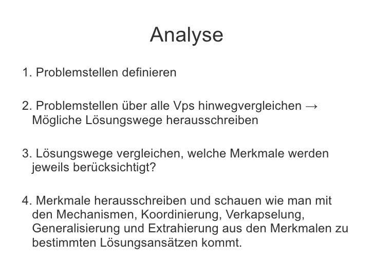 Analyse1. Problemstellen definieren2. Problemstellen über alle Vps hinwegvergleichen →  Mögliche Lösungswege herausschreib...