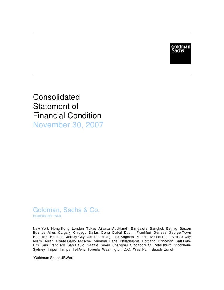 goldman sachs Consolidated Statement of Financial Condition