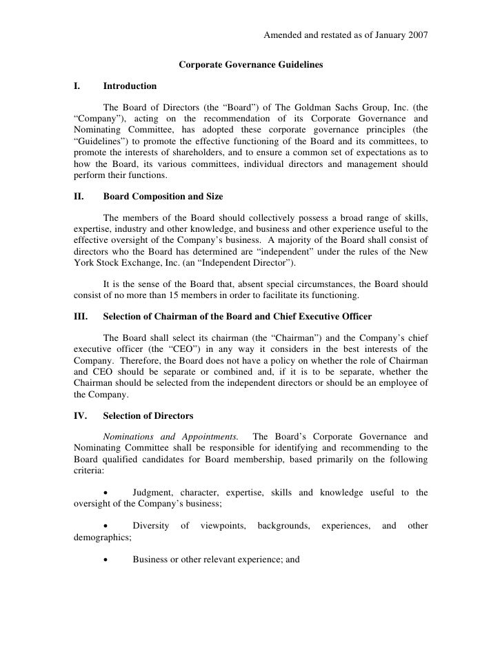 Amended and restated as of January 2007                             Corporate Governance Guidelines  I.     Introduction  ...