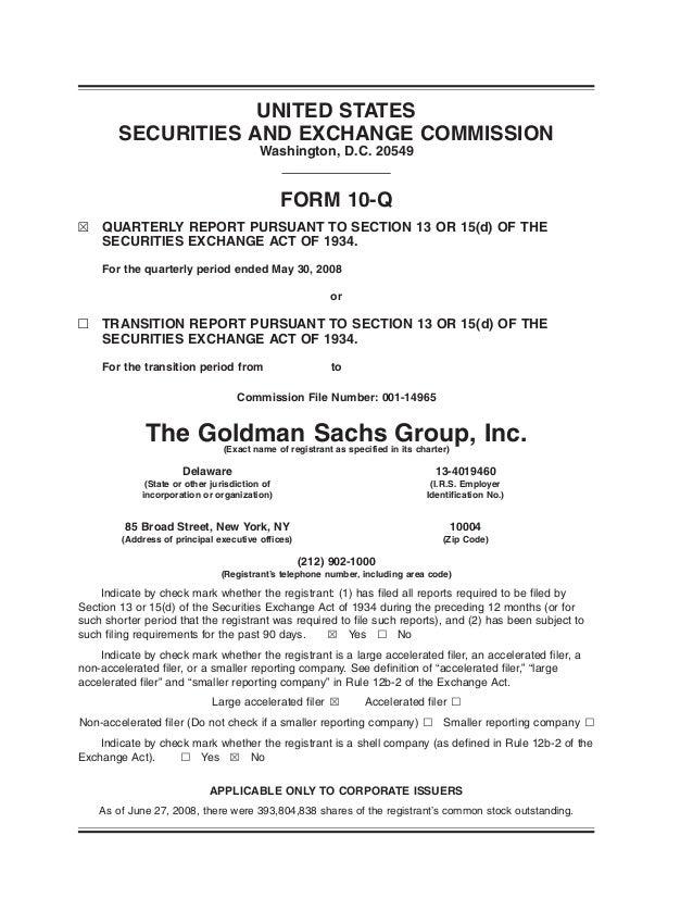 goldman sachs Second Quarter 2008 Form 10-Q
