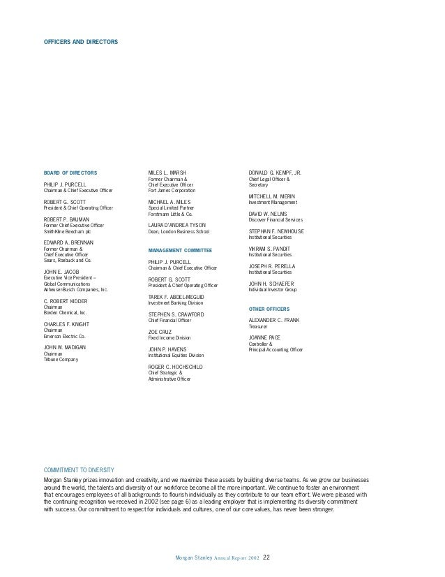 Morgan Stanley Annual Report 2002 22 OFFICERS AND DIRECTORS BOARD OF DIRECTORS PHILIP J. PURCELL Chairman & Chief Executiv...