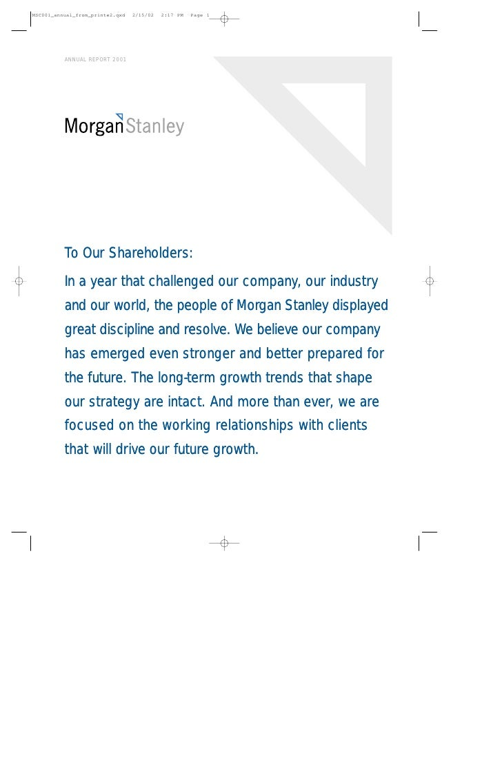 Morgan Stanley Annual Reports 2001