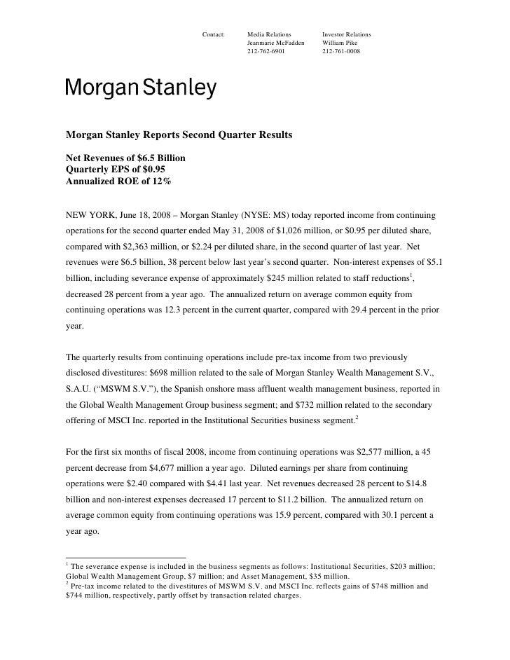 Morgan Stanley Investor Relations >> Morgan Stanley Earnings Archive 2008 2nd