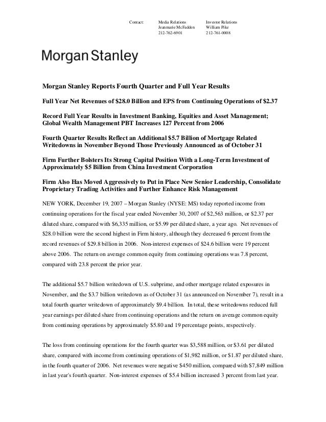 morgan stanley Earnings Archive 2004 4th