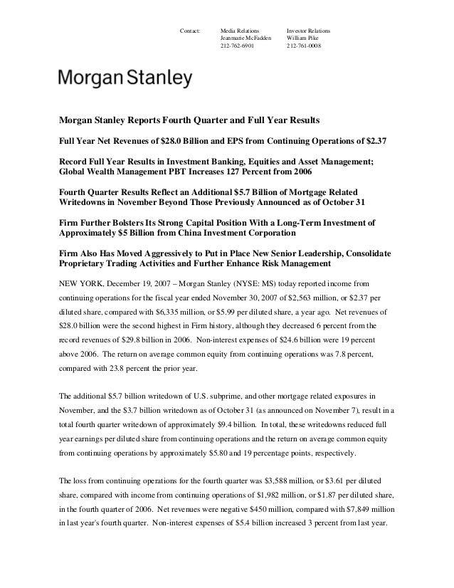 Morgan Stanley Investor Relations >> Morgan Stanley Earnings Archive 2004 4th