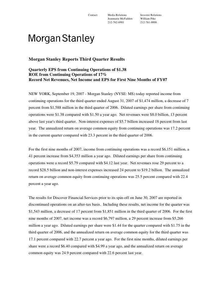Morgan Stanley Earnings Archive2007 3rd