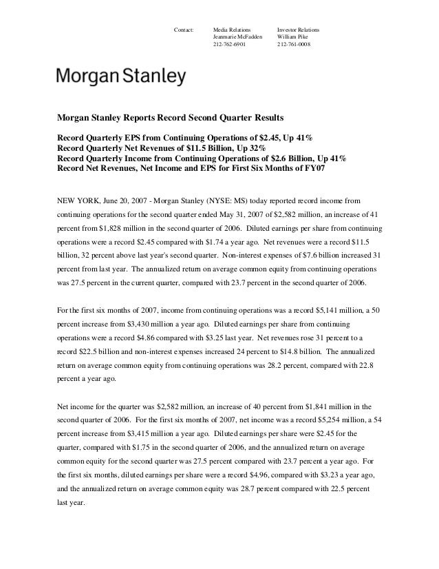 Morgan Stanley Investor Relations >> Morgan Stanley Earnings Archive 2007 2nd