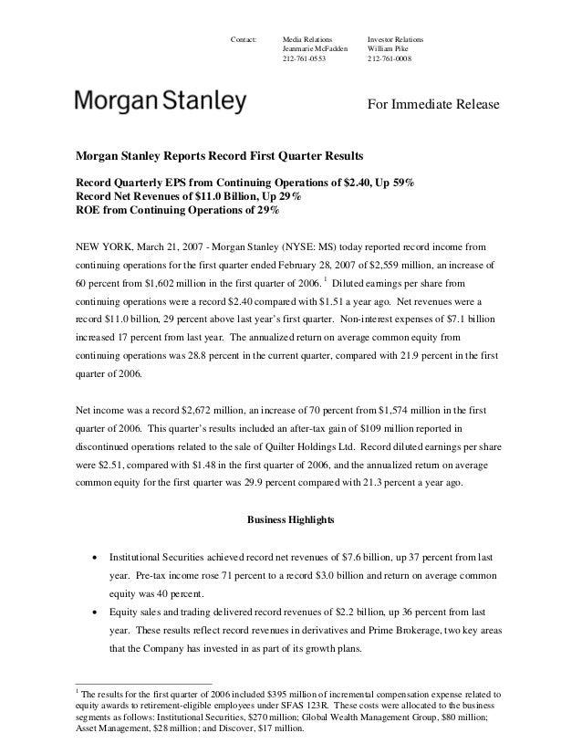 Morgan Stanley Investor Relations >> Morgan Stanley Earnings Archive 2007 1st