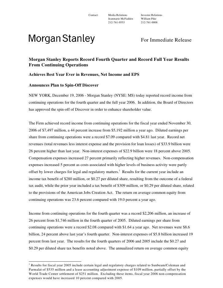 Morgan Stanley Investor Relations >> Morgan Stanley Earnings Archive 2006 4th