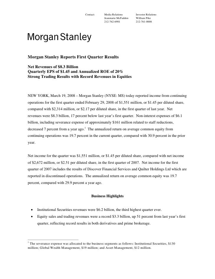Morgan Stanley Investor Relations >> Morgan Stanley Earnings Archive 2008 1st