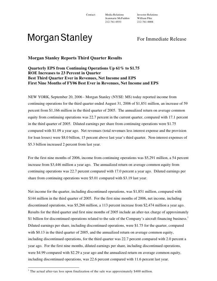 Morgan Stanley Investor Relations >> Morgan Stanley Earnings Archive 2006 3rd