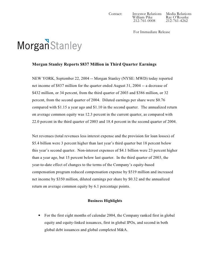 Morgan Stanley Investor Relations >> Morgan Stanley Earnings Archive 2004 3rd