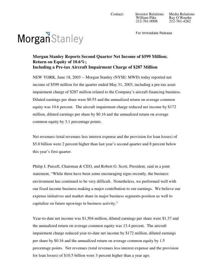 morgan stanley Earnings Archive2003 2nd