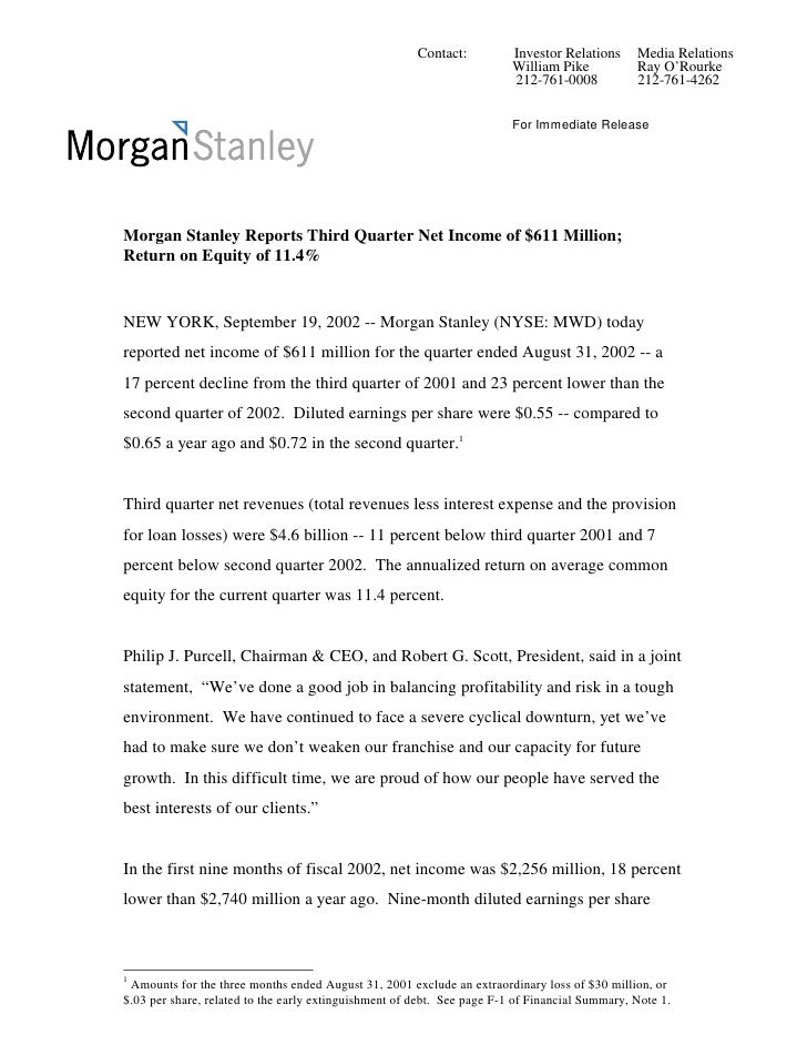 Morgan Stanley Investor Relations >> Morgan Stanley Earnings Archive 2002 3rd
