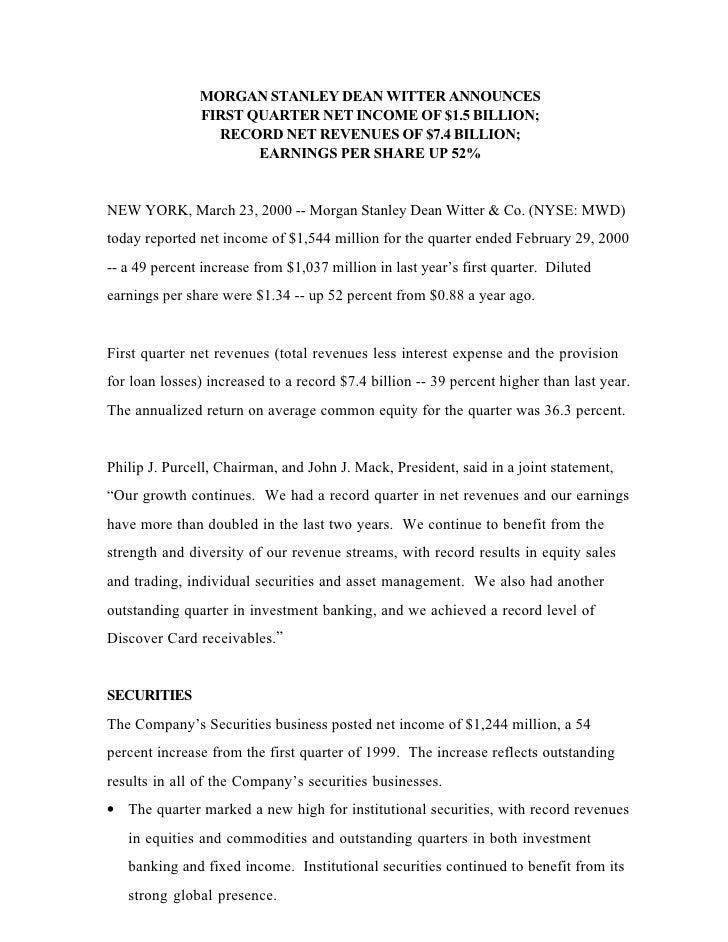 MORGAN STANLEY DEAN WITTER ANNOUNCES                FIRST QUARTER NET INCOME OF $1.5 BILLION;                  RECORD NET ...