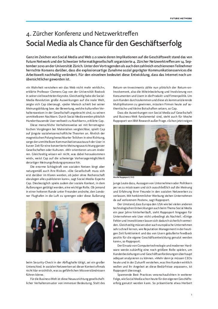 f utu r e networ k4. Zürcher Konferenz und NetzwerktreffenSocial Media als Chance für den GeschäftserfolgGanz im Zeichen v...