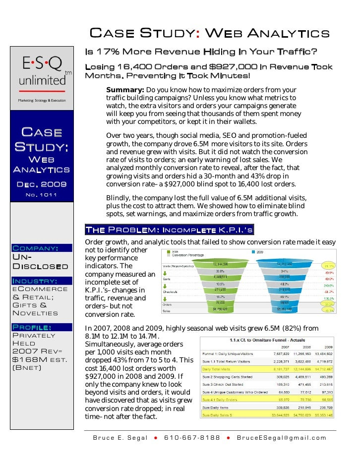 C ASE S TUDY: W EB A NALY TICS                    Is 17% More Revenue Hiding In Your Traf fic?                    Losing 1...